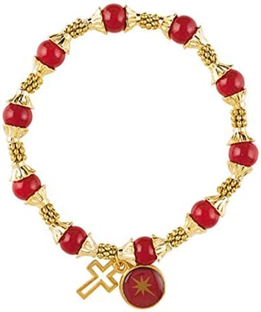 Cross Jewelry Bracelet, Beaded Red and Gold Toned Bracelet with Cross Charm, Stocking Stuffers for Girls