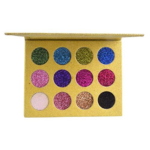 Wovemster 12 Colors Lidschatten-Palette,Female Natürliche Wasserdichte Glitter Glänzende Metalle...