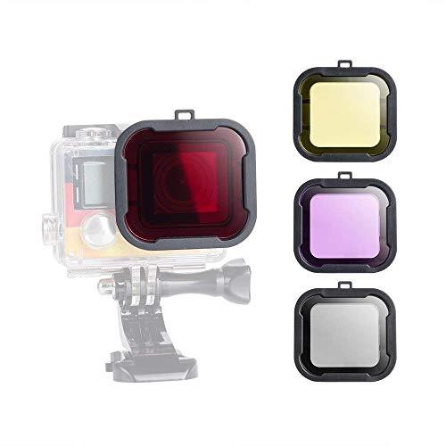 4 Pack Duiken Lens Onderwater Video Fotografie Filmen Kleur Correctie Compensatie Filters voor Gopro Hero 4 3+