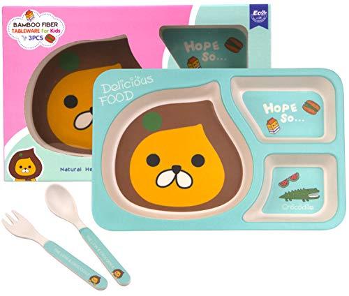 Set Piatti Pappa Bimbi, Set Stoviglie per Bambini, Set Completo Pappa in Bambù, Kit Pappa 3 Pezzi (Piatti a Scomparti, Cucchiaio e Forchetta), Free BPA