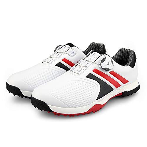 GRASSAIR PGM Herren Golfschuhe mit rotierenden Schnürsenkeln Wasserdicht Leicht atmungsaktiv rutschfest,Rot,44