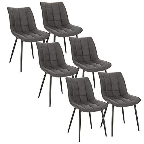 WOLTU 6 x Esszimmerstühle 6er Set Esszimmerstuhl Küchenstuhl Polsterstuhl Design Stuhl mit Rückenlehne, mit Sitzfläche aus Stoffbezug, Gestell aus Metall, Dunkelgrau, BH247dgr-6