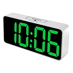 DreamSky 8.9 Inches Large Digital Alarm Clock with USB Charging Port, Fully Adjustable Dimmer, Battery Backup, 12/24Hr, Snooze, Adjustable Alarm Volume, Bedroom Alarm Clocks (White Case + Green Digit)
