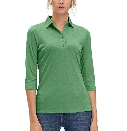 Women's 3/4 Sleeve Polo Shirts Moisture Wicking Performance Knit Tops Fitness Workout Running Sports Leisure T-Shirt (Green,L)