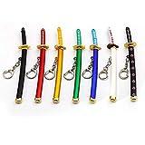One Piece Keychain Keyrings Roronoa Zoro Sword kitetsu Toy Model Metal Key Ring llaveros Key Chain Anime Jewelry Figures Copslay-7pcs / Set