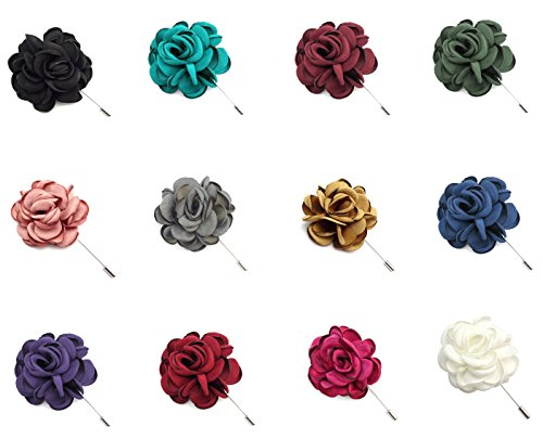 ZAKIA Men's Flower Lapel Pin Brooch Handmade Boutonniere for Suit (White)