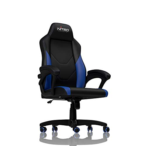 NITRO CONCEPTS C100 - Gaming Stuhl Bürostuhl Ergonomisch Schreibtischstuhl PU Kunstleder Gaming Sessel Ergonomisch Form Gamer Stuhl mit Rückenlehne (Schwarz/Blau)