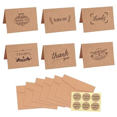 LXCDCH 12 Stück Kraftpapier Dankes Karte Thank You Cards Business Dankeskarten Geburt Danke Grußkarten Mit Umschlägen für Geschäft Hochzeit Brautparty Jahrestag Schulabschluss Baby-Dusche