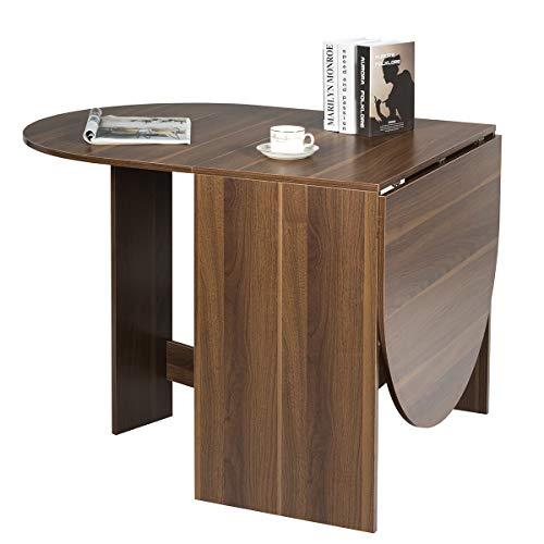 COSTWAY Klapptisch Holz, Esstisch klappbar, Küchentisch, Holztisch für Garten, Esszimmer, Küche, Balkon, braun