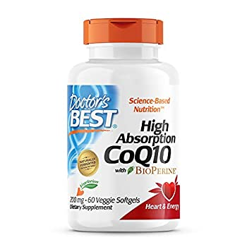 Doctor s Best High Absorption CoQ10 with BioPerine Vegetarian Gluten Free Naturally Fermented Heart Health & Energy Production 200 mg 60 Veggie Softgels
