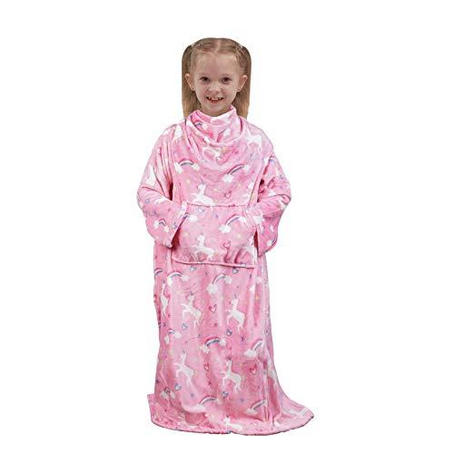 Softan Tragbare Kinderdecke mit Ärmeln, Fußtasche, Känguru-Tasche, Kinder-Jungen-Mädchen-Decke, weiche, warme, leichte Decke für Kinder, Flanell, rosa Einhorn, 120 x 138 cm