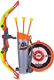 WISHKEY Sports Super Archery Bow and Arrow Set with Dart Target Board, Colourful