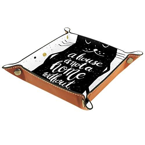 YATELI Caja de Almacenamiento pequeña, Bandeja de Valet para Hombre,Elegante Gato Negro Lindo,Organizador de Cuero para Llaves de Caja de Monedas