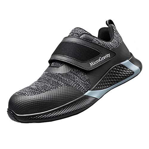 ISOOUS Chaussure de Securité Homme Femme Legere S3 Scratch Chaussures de Travail Respirant Antidérapant Embout Acier Baskets Noir 40
