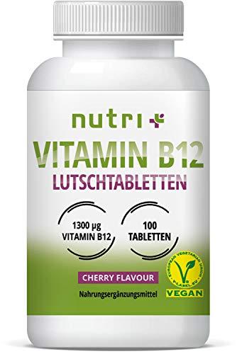 Vitamin B12 Lutschtabletten - vegan & hochdosiert - 1300µg (mcg) 100 vegane Tabletten zum lutschen - aktives Methylcobalamin - Geschmack Kirsche - mit Xylit