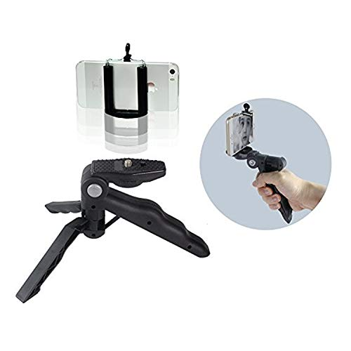 LimoStudio Mini Hand Grip Bar Light Stand Tripod with Cell Phone Clip Holder, Tripod or Hand Bar, 1/4 Inch Standard Screw, Can Hold All Types Smartphone, Easy Hand Grip, Photo Studio, AGG2095