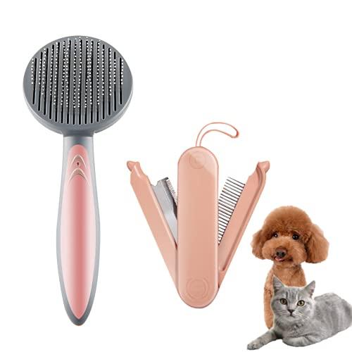 LKJYBG Spazzola per cani, spazzola per gatti, spazzola per la pulizia delle parti di massaggio, per capelli lunghi e corti, colore: rosa ciliegia