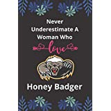 Never Underestimate A Woman Who Love Honey Badger: Animal lover Gifts Lined Notebook For Men, Women, Boys And Girls Journal.
