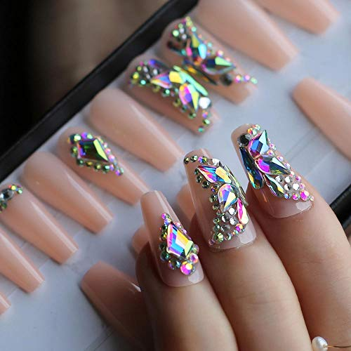 CSCH Faux ongles Butterfly Crystal Luxury Coffin nude Press on nails box 24pcs UV Acrylic nails bling DIY manual Ballet matte pink fasle nails