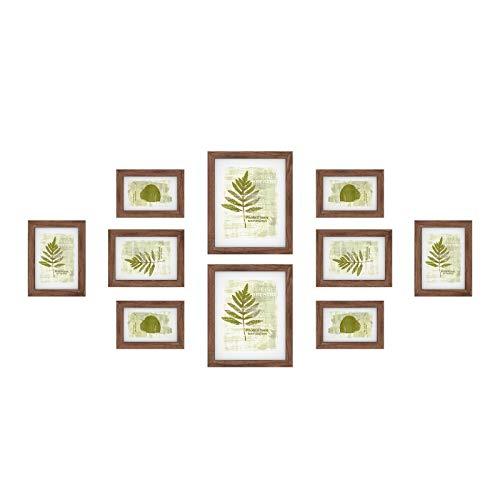 SONGMICS Bilderrahmen 10er Set, für 2 Fotos in 20 x 25 cm (8 x 10 Zoll), 4 Fotos in 13 x 18 cm (5 x 7 Zoll), 4 Fotos in 10 x 15 cm (4 x 6 Zoll), Kunststoffscheibe, MDF, braun RPF310K01