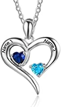 Personalized 2 Names Simulated Birthstones Necklaces 2 Couple Hearts Name Engraved Pendants for Women