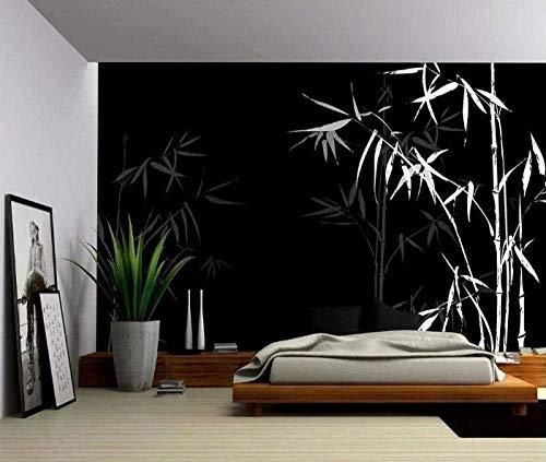 Murales Tropicales Bambú De Tinta Blanca Oriental Pared Papel 3D Papel Pintado Dormitorio Sala Tv Fondo Decoración De Pared Decorativos Murales 120Cmx100Cm