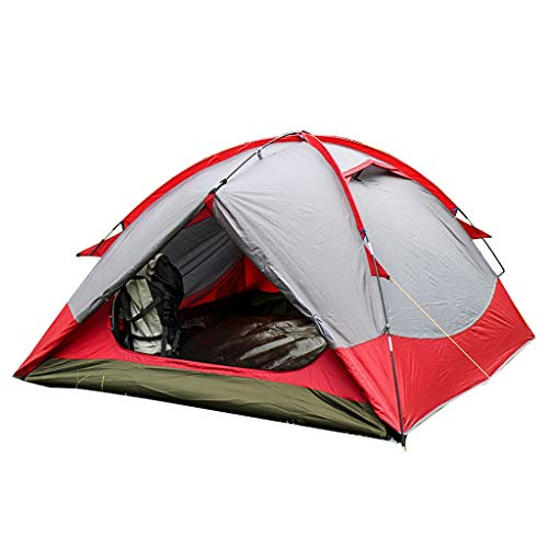 HUIYAN Camping Tents, 2-3 Person Dome Tent | Double Waterproof UV Family Tent | For Outdoor Camping, Red
