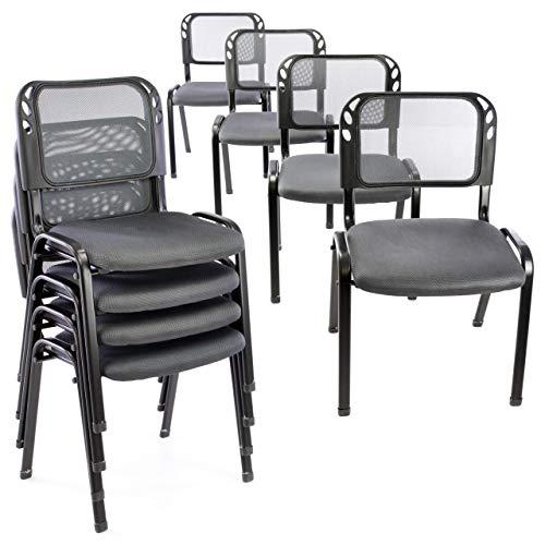 8er Set Bürostuhl Konferenzstuhl Besucherstuhl grau gepolsterte Sitzfläche stapelbar 52,5 x 45 x 80 cm Stapelstuhl Metallrahmen schwarz Anthrazit