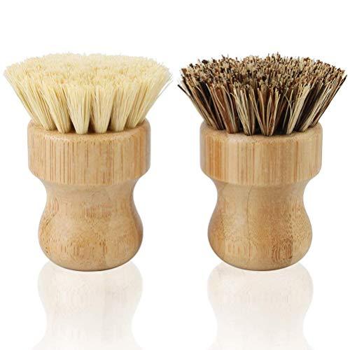 CJMING 2Pcs Cepillo Para Platos, Cepillo Redondo Para Limpieza De Bambú Natural, Cepillo Para Fregar Platos, Cepillo Para Limpiar Sartenes, Vajilla, Herramientas De Limpieza De Cocina