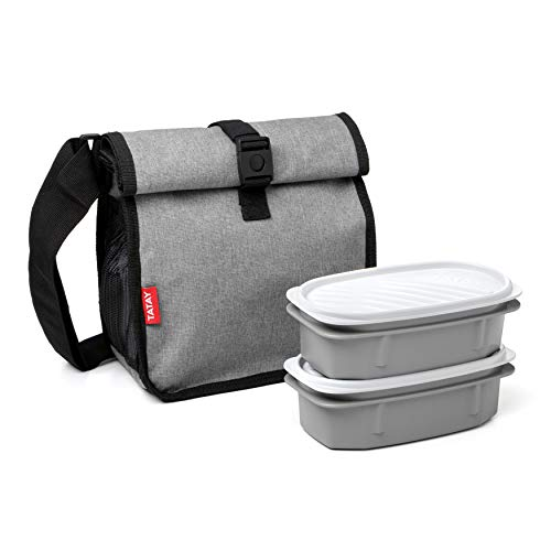 TATAY Urban Food Roll&Go Denim Grey - Bolsa térmica porta alimentos enrollable con 2 tápers herméticos incluidos, 4.2 l, tela, color gris jaspeado con tapers a juego, 22 x 11 x 22.5 cm
