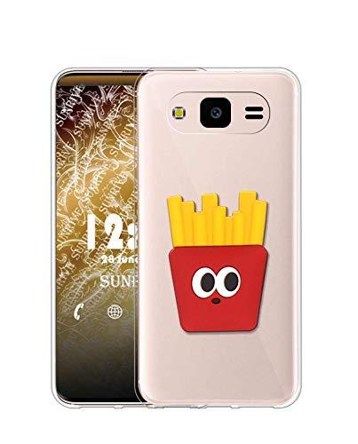 Sunrive Cover per Samsung Galaxy J3 PRO, Custodia in Molle Ultra Slim Trasparente Silicone Morbida Protector Back Case Protettiva Kickstand(Patatine Fritte)