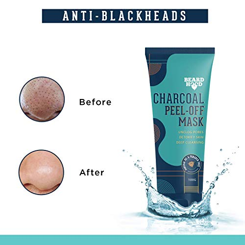 Beardhood Charcoal Peel Off Mask | Skin Detox & Instant Glow | Benefits of Rosemary Oil & Eucalyptus Oil