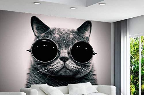 Benutzerdefinierte Tapete Europäische Tragen Sonnenbrille Katze Niedlich Spielen Coole Kinderzimmer Hintergrund Wand 3d Tapete Wandbild
