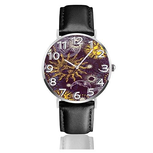 Reloj de Pulsera Luna Sol de Dibujos Animados Resumen Durable PU Correa de Cuero Relojes de Negocios de Cuarzo Reloj de Pulsera Informal Unisex