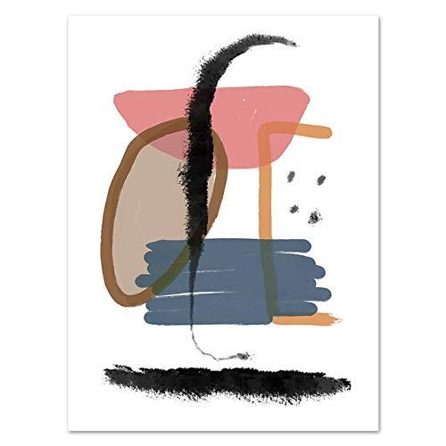 N / A Kreative Mode Textur abstrakte geometrische Pinselstrich rahmenlose Leinwand Malerei Wandkunst Poster Druck Bild Wohnzimmer Wohnkultur B1 30x40 cm kein Rahmen