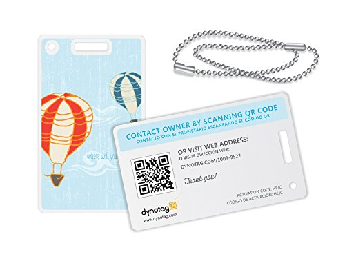 Dynotag Web/GPS enabled QR Smart Fashion Luggage Tags - 2 Identical Tags+Chains (Up!)