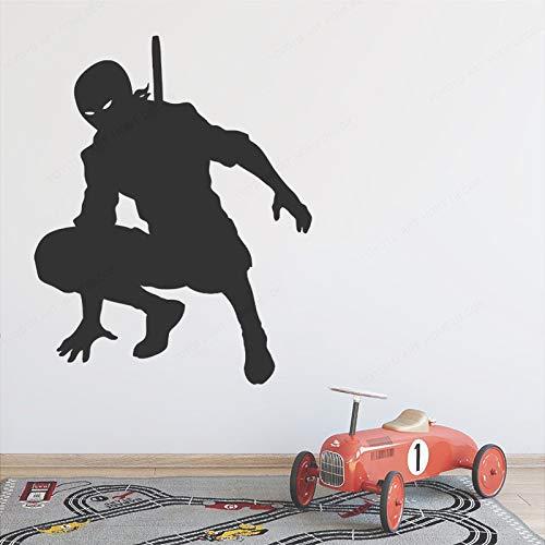 yaonuli Vinyl Wandtattoo Ninja Silhouette Abnehmbare Vinylform Wandbild 94X57cm