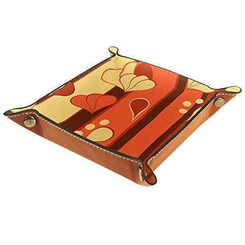 FURINKAZAN Bandeja de valet para cambio de mesita de noche, caja de almacenamiento, color amarillo, ladrillo, rojo, hojas, flores