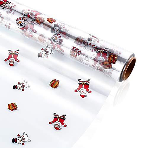 STOBOK Klares Cellophan Geschenkfolie Transparent Rolle,40CM x 30M Weihnachten Muster Geschenkpapier 3.0 Mil Dicke Lange Film Geschenk Kristall Papier Transparentpapier für Kunst, Blumen, Handwerk