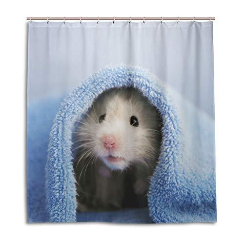 BKEOY Duschvorhang Tier-süßes Hamster-Badevorhang, wasserdicht, schimmelfest, waschbar, Polyester, 167 x 182 cm, mit 12 Vorhanghaken