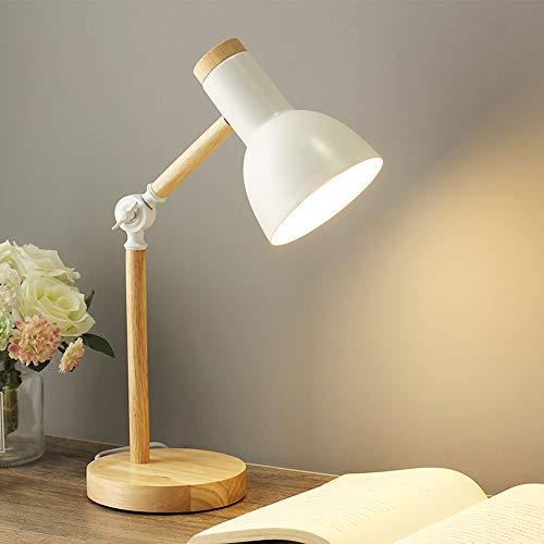 Chao Zan E27 lampada da tavolo lampada da lettura a LED in design classico in legno,Imparare lampada da scrivania,lampada con braccio regolabile,lampada da ufficio, lampada da comodino - bianca