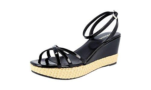 Prada Women's 1X9561 Black Leather Sandals US 10 / EU 40