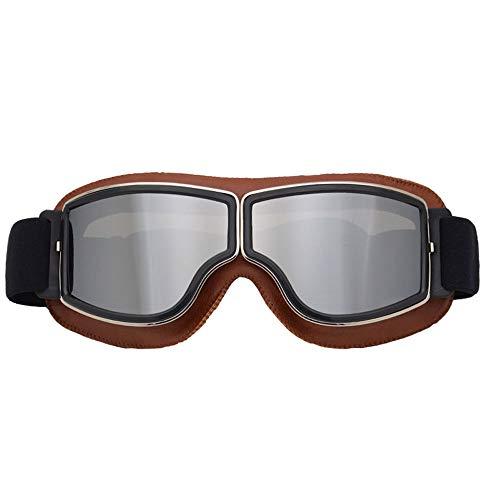 Harley Gafas de Moto con Marco de Cuero,Protección Anti-vaho Protección UV Gafas de Moto Gafas de Motocross de montaña al Aire Libre Accesorios Todoterreno