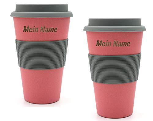 BambooYou Magu - Juego de 2 tazas de café para llevar con nombre de bambú, grabado láser 465, color rojo natural