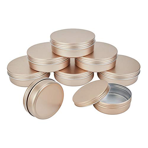 PandaHall Elite Paquete de 6 latas de lata grandes de 14 onzas con tapa de rosca redondas, latas de metal, latas de viaje para velas, manualidades, almacenamiento, cosméticos y recuerdos de fiesta