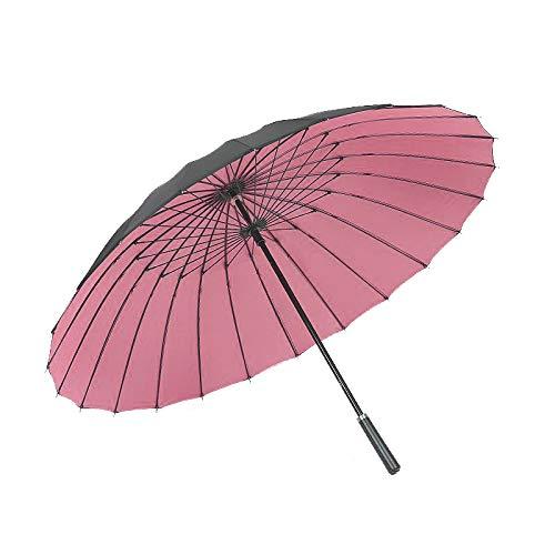 ThreeH A Prueba De Viento Paraguas De Golf Doble Dosel Automático Abierto Viaje Extra Grande Negocio Paraguas KS12,Pink