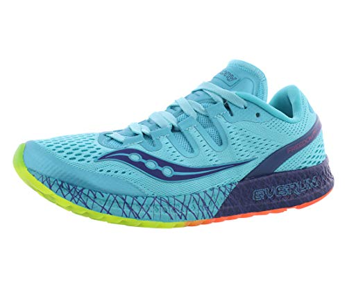 Saucony Women's Freedom ISO Running Shoe, Blue/Citron, 6 B(M) US