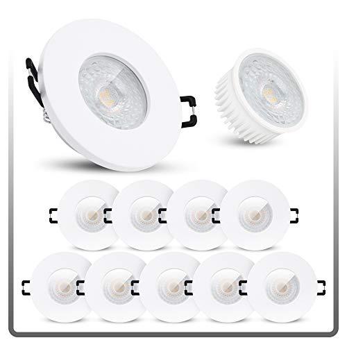 linovum ISAWO 10 Stück Einbaustrahler LED Bad IP65 mit LED Modul 5W warmweiß 230 V - Badeinbaustrahler flach in weiß & rund