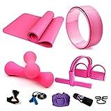 Essential Yoga Starter Set Kit,5pcs Includes Yoga Mat,2 x 0.5kg Mancuernas,1 Rueda de Yoga,1x Saltar la Cuerda,Resistencia al Yoga con Pedales,Para Pilates y Otros Entrenamientos de Fitness,Pink