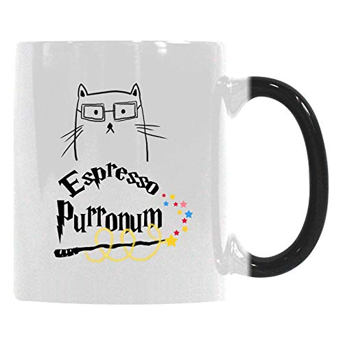 Gift Coffee Mug Cup - Espresso Purronum Heat Sensitive Color-Changing Morphing Mug(Two Sides) - Funny Inspired & Motivational